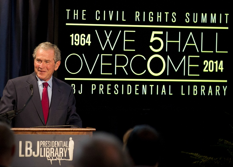 Former President George W. Bush addresses a private gathering in the LBJ Library Atrium on April 10, 2014 on the last day of the Civil Rights Summit in Austin. 