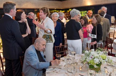 Harry Middleton, a presidential speech writer for President Lyndon Johnson, takes his seat for a speech by former President George W. Bush at the LBJ Library Atrium on April 10, 2014.  Ralph Barrera / Austin American Statesman