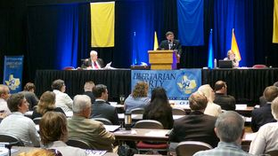 Chairman Pat Dixon presiding at the Libertarian Party of Texas state convention in Temple on April 12, 2014.