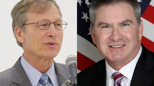 The race to replace U.S Rep. Steve Stockman in Congressional District 36 is a battle of geographical allegiance between supporters of the two Republican candidates headed to the May 27 runoff: Brian Babin (l) of southeast Texas and Ben Streusand (r) of suburban Houston.