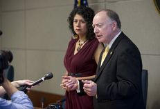 House Committee on Transparency in State Agency Operations chairs Carol Alvarado, D-Houston and Dan Flynn, R-Canton, explain the 7-1 vote to recommend drawing up articles of impeachment against UT Regent Wallace Hall, Jr. on May 12, 2014.