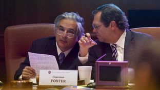 UT System Chancellor Dr. Francisco Cigarroa listens to Board of Regents Chairman Paul L. Foster at the meeting on May 14, 2014.