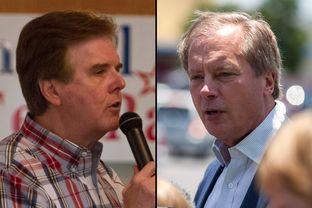 Dan Patrick (l) in Salado, Tex., and David Dewhurst in Austin.