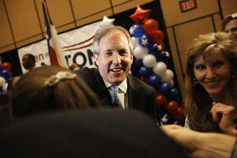 State Sen. Ken Paxton celebrated with supporters after winning the Republican primary runoff for Texas attorney general on May 27, 2014.