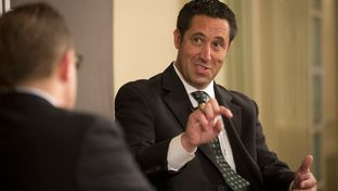 Republican Comptroller candidate Glenn Hegar speaks with Evan Smith at TribLive on May 29, 2014.