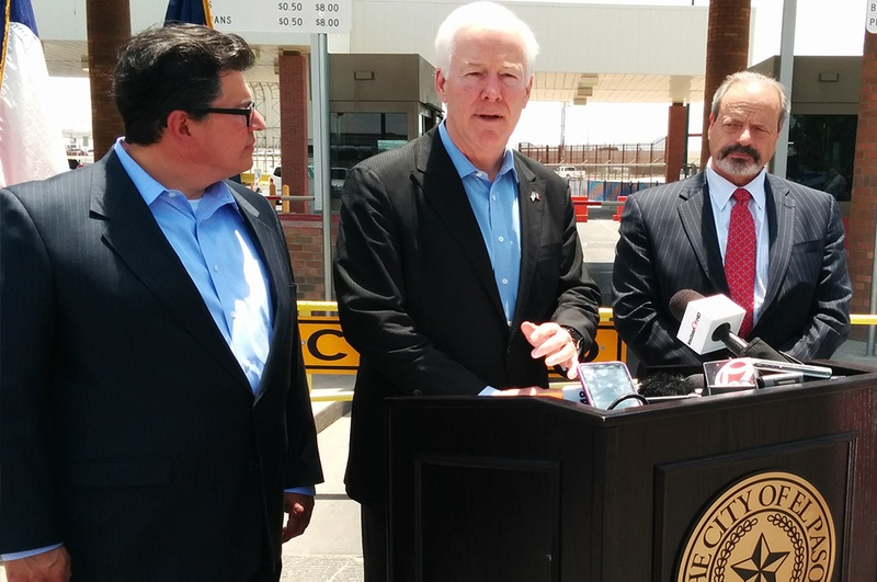 BorderPlex CEO Rolando Pablos,U.S. Sen. John Cornyn and El Paso Mayor Oscar Leeser.