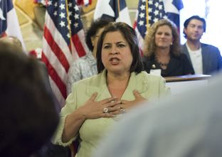 Democratic candidate for Lt. Governor of Texas, Sen. Leticia VanDePutte D-San Antonio,  during a campaign swing in Austin, Texas June 4th, 2014