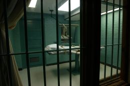 The view of Texas' execution chamber from a witness viewing room.
