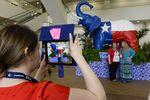 Republicans posing with the elephant at the Fort Worth Convention Center on June 5, 2014.