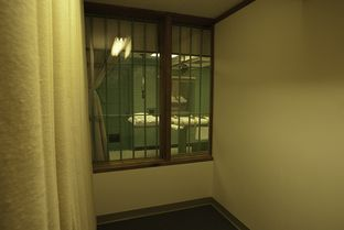 The execution chamber seen from one of two witness viewing rooms at the Texas Department of Criminal Justice's Huntsville Unit.