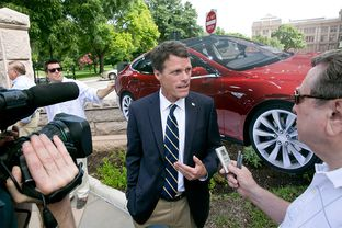 California State Sen. Ted Gaines, R-Roseville, speaks to media outside the Texas State Capitol on June 30, 2014. Gaines is in Austin discussing his efforts in promoting California as a premier destination for business relocation.