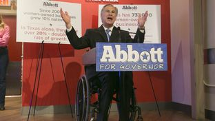 Republican Gubernatorial candidate, Attorney General Greg Abbott, speaks to crowd at Lavazza Coffee House on Congress Avenue, a few blocks away from Paramount Theater where President Obama was scheduled to speak later in the day. July 10th, 2014