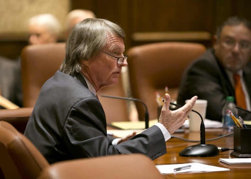 UT President Bill Powers speaks during a UT Board of Regents meeting on July 10, 2014.