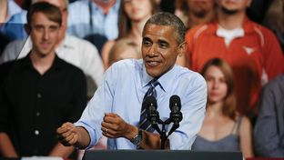 President Barack Obama chastises Republicans in Congress for stonewalling his agenda in a speech July 10, 2014 at the Paramount Theater in Austin.