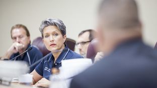 Councilwoman Heidi Thiess during a League City Council meeting on July 14, 2014.