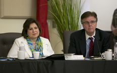 Sen.Leticia Van de Putte D-San Antonio and Sen. Dan Patrick R-Houston during during a joint Interim Committee to Study Human Trafficking in La Joya, Texas on July 24th, 2014. Both Senators are candidates to become the next Lt. Governor of Texas