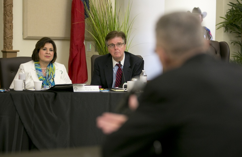State Sen. Leticia Van de Putte, D-San Antonio, and state Sen. Dan Patrick, R-Houston, during a legislative committee hearing on human trafficking in La Joya on July 24. Both senators are candidates for lieutenant governor.