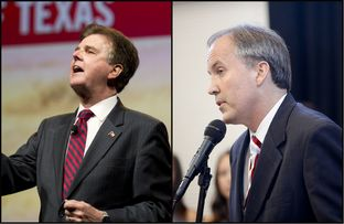 GOP nominees for lieutenant governor and attorney general Dan Patrick (l.) and Ken Paxton.