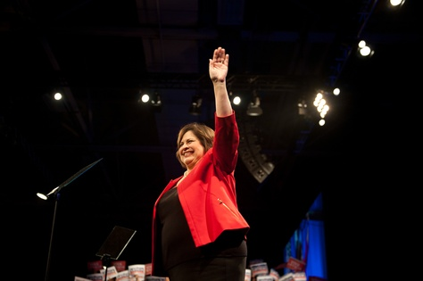 State Sen. Leticia Van de Putte waves to the delegates at the 2014 Texas Democratic Convention held at the Dallas Convention Center on June 27, 2014.