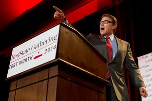 Texas Governor Rick Perry speaks during the 2014 RedState Gathering at the Worthington Renaissance Hotel in Fort Worth, Texas on August 8, 2014.