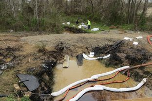 Workers mop up tar sands oil from a creek in the wake of Exxon Mobil's Pegasus pipeline spill, Mayflower, Arkansas.