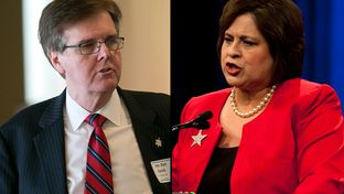 State Sen. Dan Patrick, the Republican candidate for lieutenant governor, speaks at the Texas Business Roundtable candidate forum on Jan. 14, and state Sen. Leticia Van de Putte, the Democratic nominee, addresses delegates at the 2014 Texas Democratic Convention on June 27.