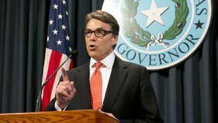 Gov. Rick Perry speaks to press a day after a grand jury indicted Gov. Rick Perry on Friday on charges of abuse of power August 16th, 2014