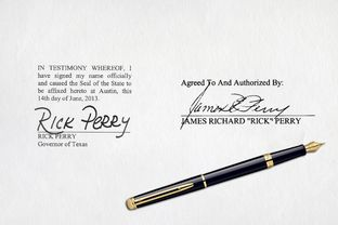 An example of how Gov. Rick Perry's signature appears on hundreds of state documents, left, compared to his signature on court documents filed this week related to his indictment.
