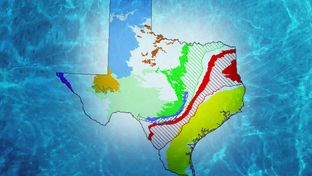This map shows all nine major aquifers in Texas. The Carrizo-Wilcox aquifer is shown in red.