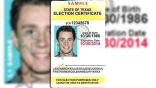 This is a sample Texas Election Identification Certificate, available for those voters who do not have an acceptable form of photo ID such as a driver's license or a U.S. passport.