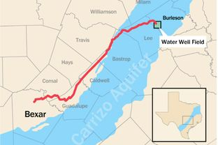 A map of the proposed pipeline that will deliver 16 billion gallons of water annually from underneath Burleson County to San Antonio, about 140 miles away.