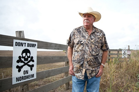 Paul Baumann's property, owned by his family for generations, is directly next to a proposed drilling waste dump in the small town of Nordheim. He, along with other concerned citizens, are protesting the dump as they fear it will pollute and ruin their way of life.
