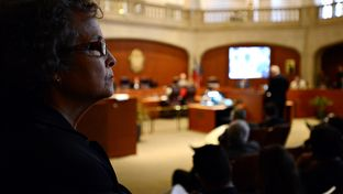 League of Independent Voters of Texas Executive Director, Linda Cirtus, looks onto the San Antonio City Council meeting moments after stating her case against the Vista Ridge Water Supply Project to the city council on Wednesday.