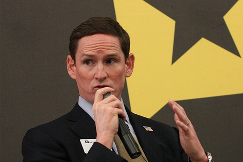 """Dallas County Judge Clay Jenkins during """"All Transportation is Local,"""" part of The Texas Tribune Transportation Symposium on Oct. 17, 2013."""