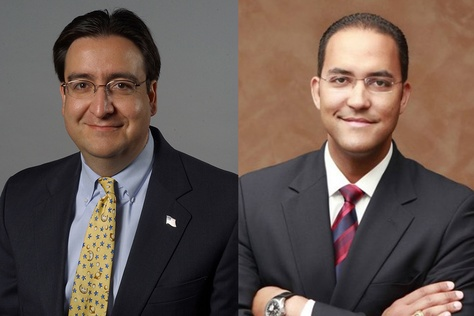 Former U.S. Rep. Pete Gallego (left) was ousted by Republican Will Hurd, right, in the 2014 CD-23 contest.