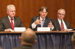 Dr. Lakey questions witness during the Texas Task Force on Infectious Disease Preparedness and Response at the Texas Capitol on October 23rd, 2014