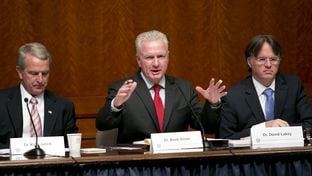 Dr. Brett Giroir, director of the Texas Task Force on Infectious Disease Preparedness and Response, speaks during the panel's first public hearing on Oct. 23. At left is Dr. Kyle Janek and at right is Dr. David Lakey.