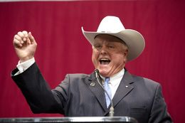 New Texas Agriculture Commissioner Sid Miller does a fist pump on election night Nov. 4, 2014.