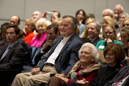 Former President George H.W. Bush and former First Lady Barbara Bush at Texas A&M University on Nov. 11.