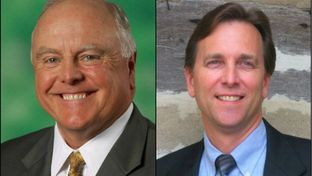 Agriculture Commissioner-elect Sid Miller (l) and state Rep. Tim Kleinschmidt, R-Lexington.