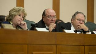 Senators Jane Nelson, R-Flower Mound, Juan Hinojosa, D-McAllen and Craig Estes, R-Wichita Falls, listen to DPS Director Steve McCraw testify Dec. 1, 2014 at the Legislative Budget Board meeting at the State Capitol.
