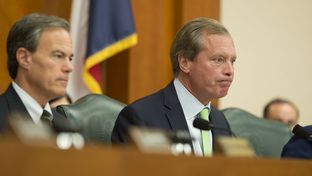 Lt. Gov. David Dewhurst (right) and House Speaker Joe Straus listened to testimony on the cost of the continuing border surge during the Legislative Budget Board hearing's on Dec.1, 2014.
