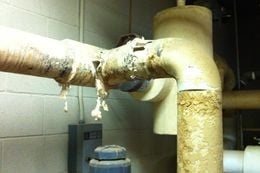 A pipe at Kilgore College, where allegations of improper asbestos removal and disposal have sparked controversy.