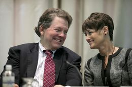 TPPF economist Dr. Arthur Laffer and Sen. Donna Campbell, R-New Braunfels, at the 2015 Policy Orientation session on School Choice on Jan. 7, 2015.