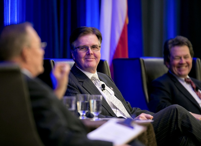 Lt. Gov.-elect Dan Patrick listens to Kent Grusendorf at a session of the Texas Public Policy Foundation's policy orientation on Jan. 7, 2015.