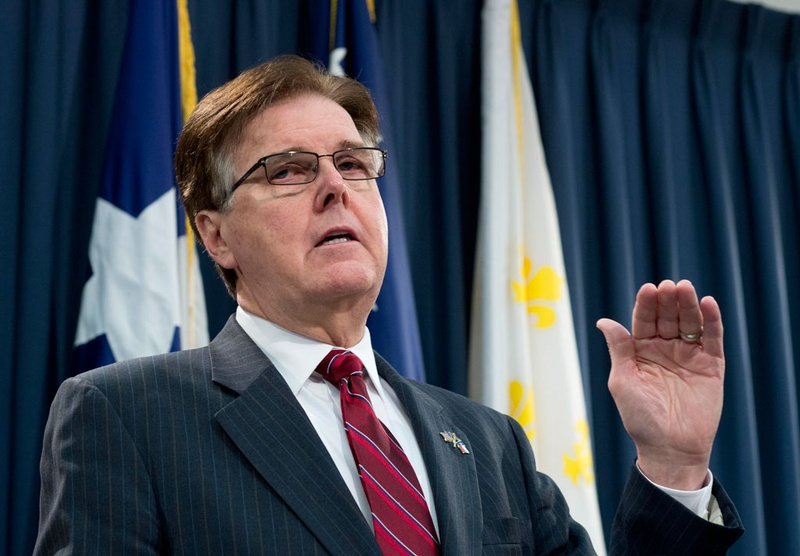 Dan Patrick, then the lieutenant governor-elect, is shown speaking to reporters at the Texas Capitol on Jan. 8, 2015.