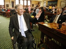 Greg Abbott is shown visiting the Senate chamber on Jan. 13, 2015.
