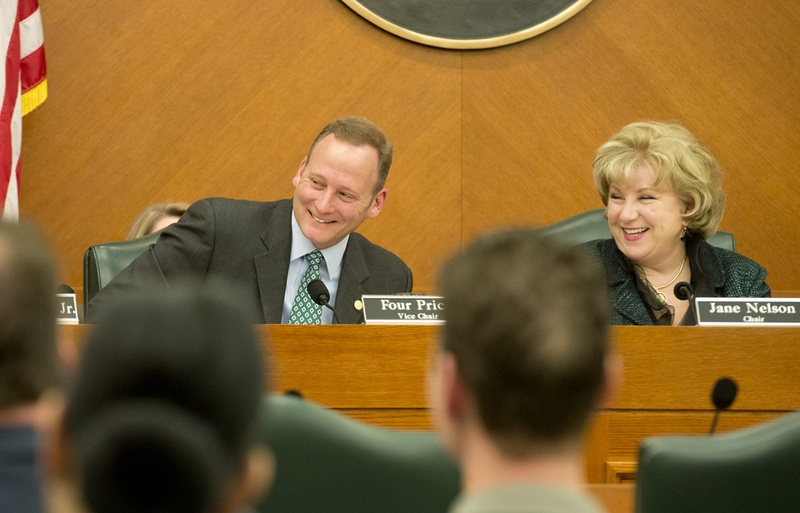 State Rep. Four Price, R-Amarillo and Sen Jane Nelson, R-Flower Mound, at the final Sunset Advisory Commission meeting on Jan. 14, 2015.
