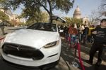 Tesla vehicle on display outside the Texas Capitol on Jan. 15, 2015.