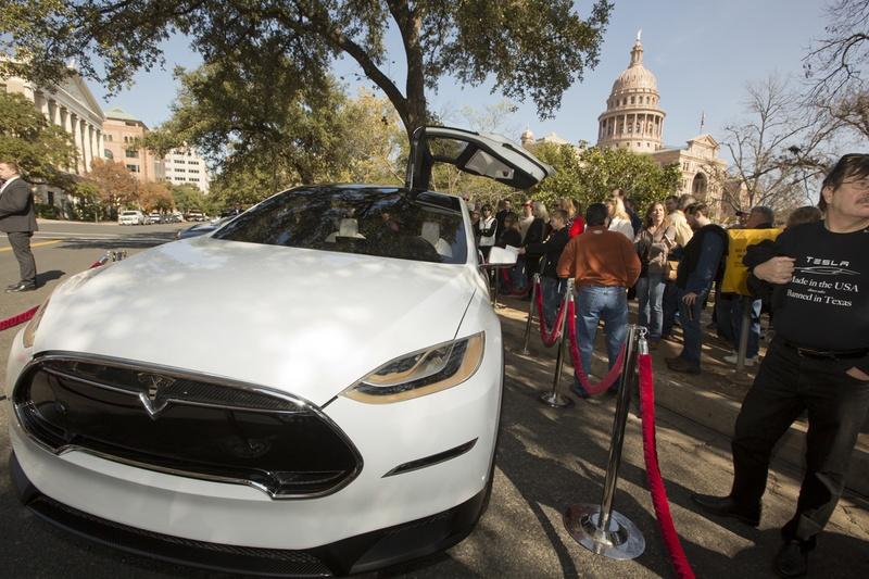 Tesla vehicle on display outside the Texas Capitol on Jan. 15, 2015.